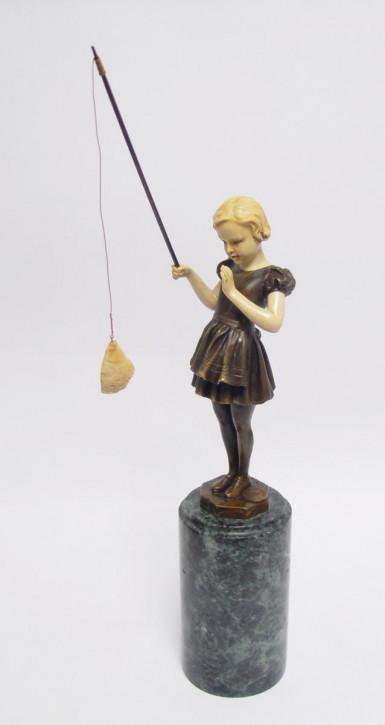 Polyharz Mounted Bronze Figur von Fishing Girl 30,5x7,6x7cm