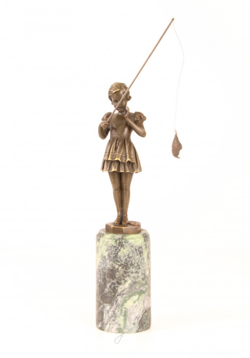 Bronzefigur Fishing Girl 30,4x6,8x6,9cm