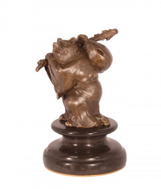 Bronzefigur The Traveller Bear (brass Plate Undern 15,2x9,5x9,6cm