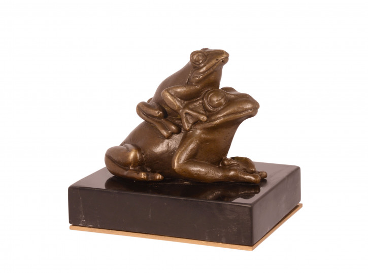 A Bronze Paperweight Of Two Frogs (brass Plate Underneath Ba 7,9x7,4x8,6cm