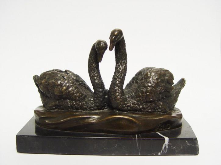 Bronzefigur Pair Of Swans 13x9,6x19,5cm