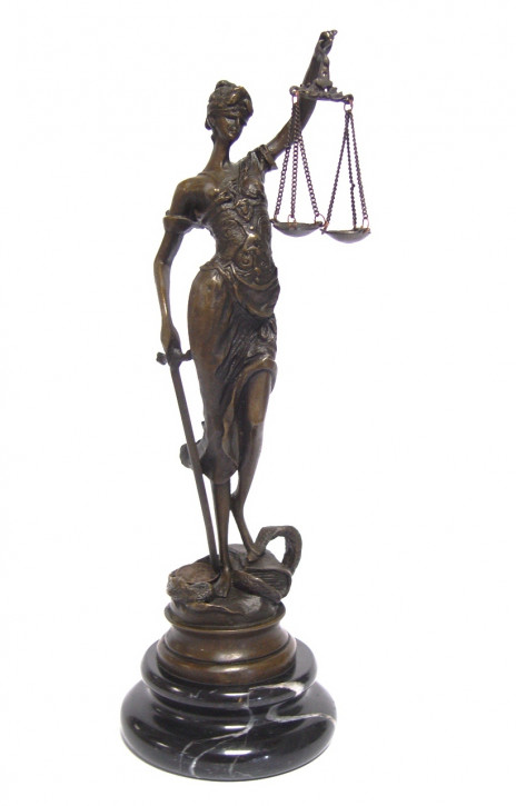 Bronzefigur The Lady Justice 23,5x7,3x7,6cm