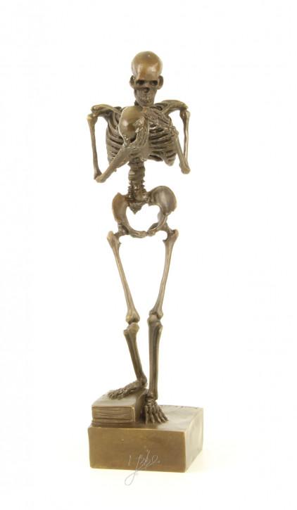 Bronzefigur Skeleton Holding Schädel 28,4x6,9x7cm