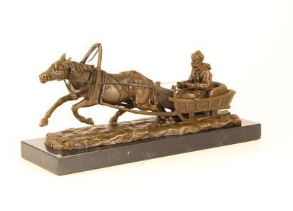 Bronzefigur Pferd Drawn Sledge 19x13x42,1cm
