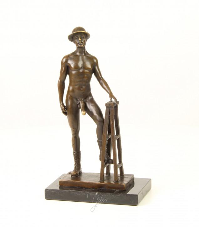 Bronzefigur Nude Posing Male 25,7x9,1x14,5cm