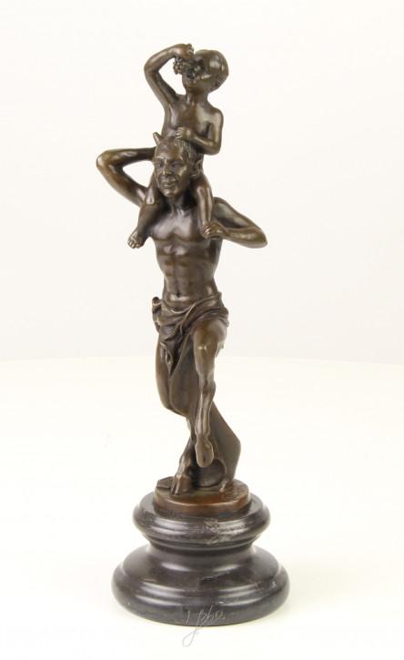 Bronzefigur Faun With Little Bacchus 29,6x9,5x10,4cm