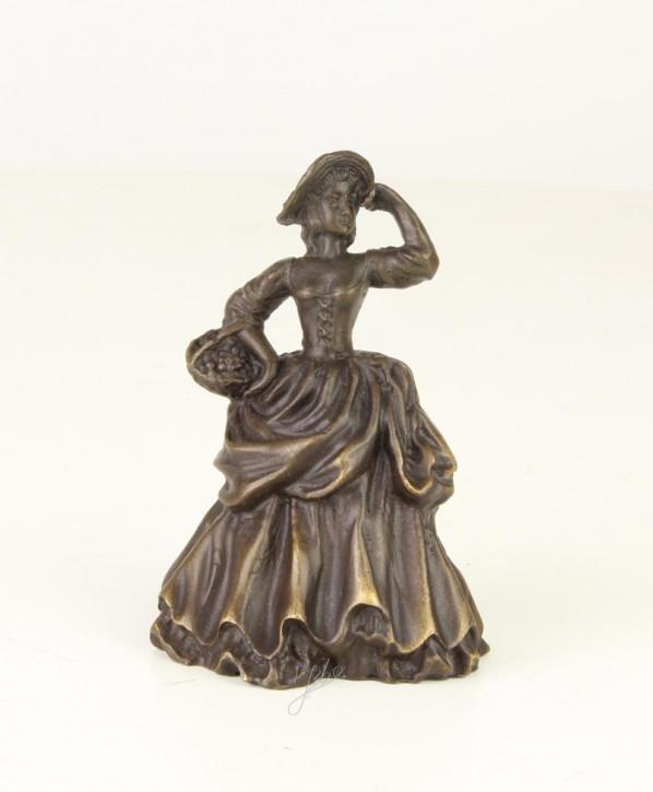 Bronzefigur Tischglocke Lady mit Schale 9x5,3x6,6cm