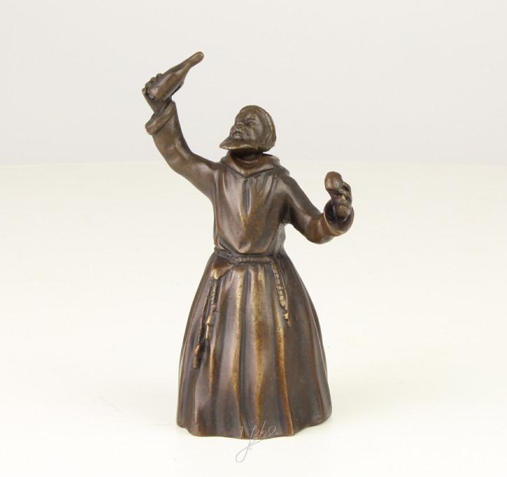 Bronzefigur Tischglocke Drinking Monk 11,6x5,1x6,9cm