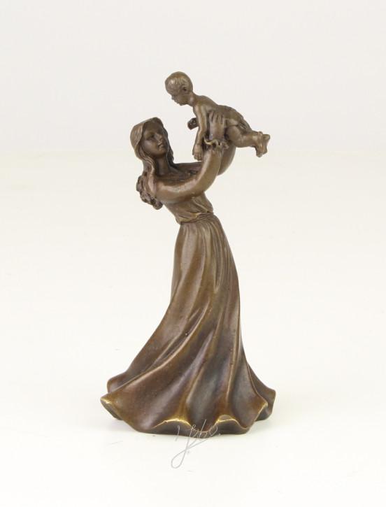 Bronzefigur Tischglocke Young Lady With Child 11x5,3x5,9cm