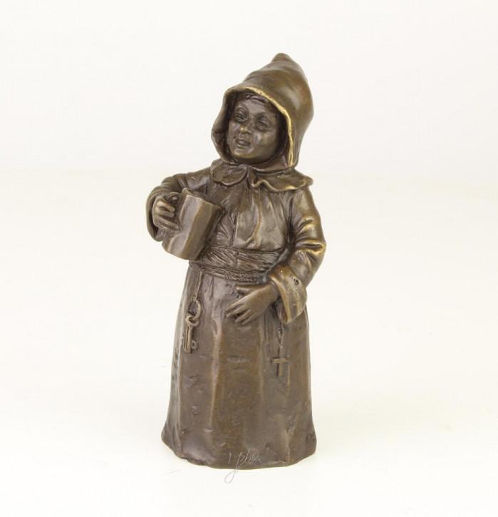 Bronzefigur Tischglocke Drinking Monk 12,6x4,9x6,1cm