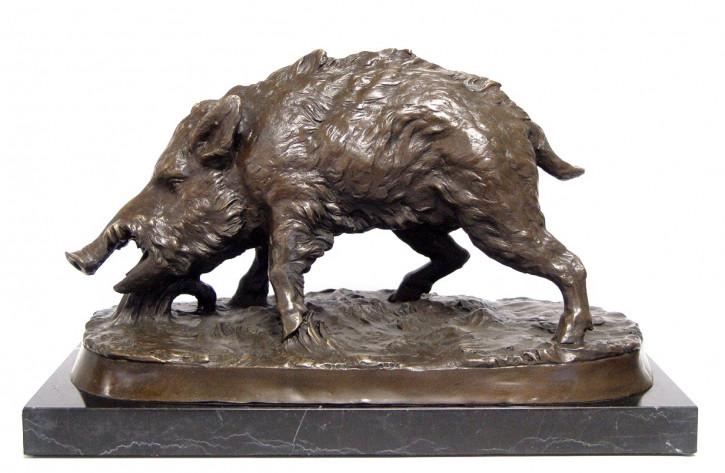 Bronzefigur Wildschwein 22x38,5cm