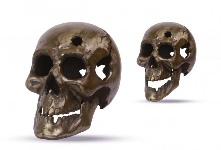 Bronzefarbenes Gusseisen Schädel 16,9x15,7x23,3cm