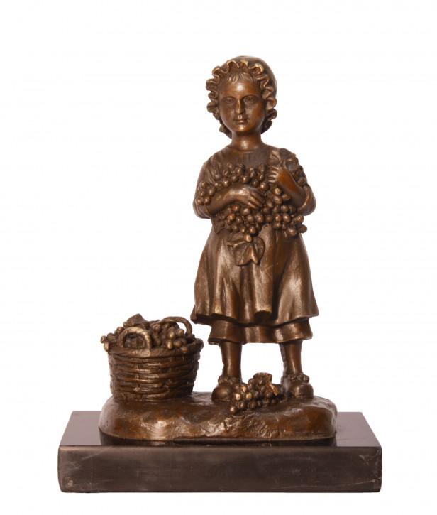 Bronzefigur Girl mit Schale Of Grapes 17,2x9,6x12,6cm