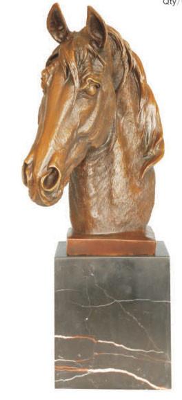 Bronzefigur Pferd Kopf 43,5x17,3x19,6cm