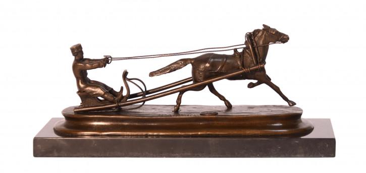 Bronzefigur von Pferd-drawn Sleigh 10,5x9,1x25cm