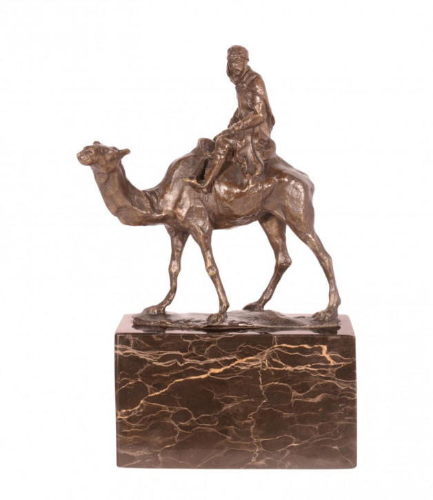 Bronzefigur Camel und Rider 21,5x14cm