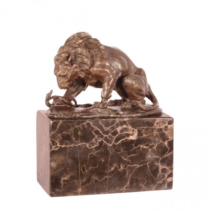 Bronzefigur Lion und Serpent 15x12cm