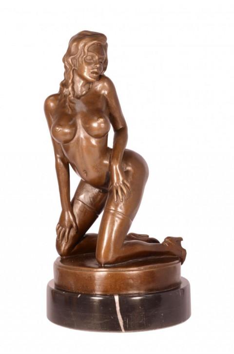 Erotische Bronzefigur Female Nude 31,5x16,5cm