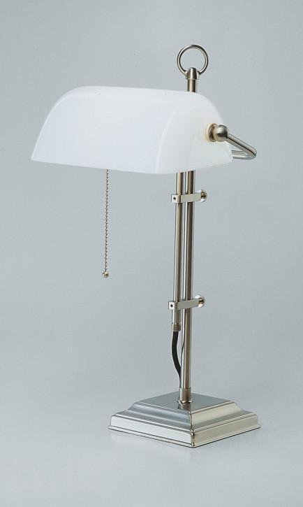 Bankerslampe W2 weiß glänzend in Nickel matt