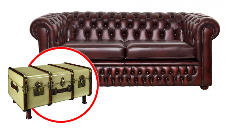 "Bundle! ""London Classic"" Original Chesterfield Sofa 3-Sitzer"