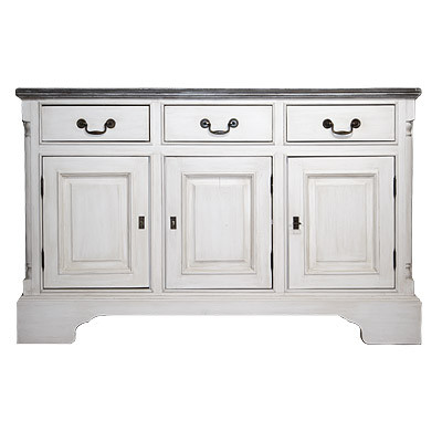 Sideboard 3D/3D Shining White/Wax Antique 141x42x90