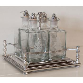 Flaschenständer mit vier Flaschen Falschen 4er-Set Edelstahl Flaschenhalter Vintage Antik-Look 27x27x24