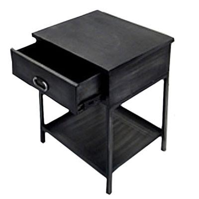 Eisentisch mit Schublade 50x42x59 aus Edelstahl in schwarz Beistelltische Wohnzimmertisch Nachttisch