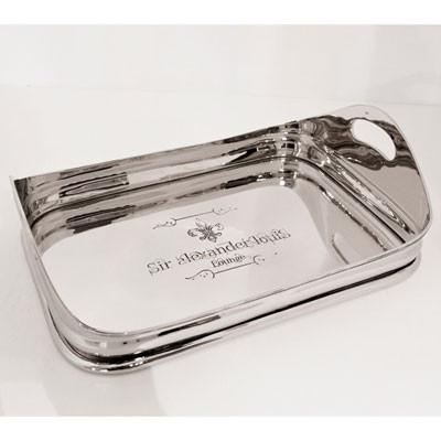 Serviertablett Silber Rechteckig mit Gravur