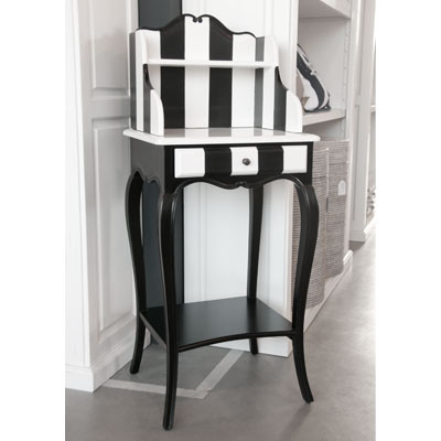 Außergewöhnlicher Telefon Tisch schwarz-weiß mit Streifen kleiner Tisch Beistelltisch 59x39x104