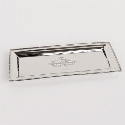 Edelstahl  Servier-Tablett Speisenteller rechteckig mit JP Gravur 32x13x2
