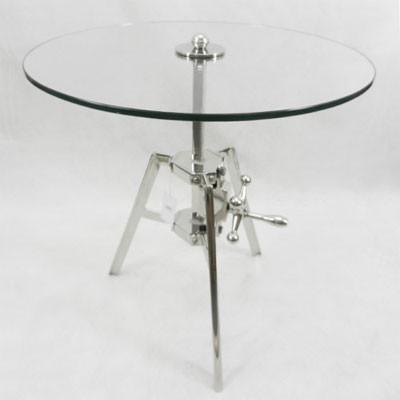 Glastisch verstellbar Beistelltisch aus Glas kleiner Tisch 61cm