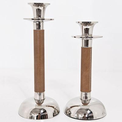 Kerzenhalter mit Leder 27cm