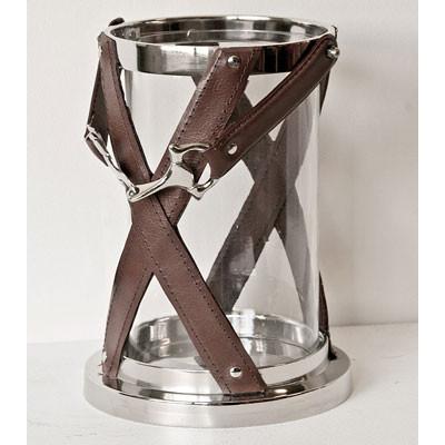 Kerzenglas aufgezäumtes Pferd Kerzenhalter aus Glas und Leder
