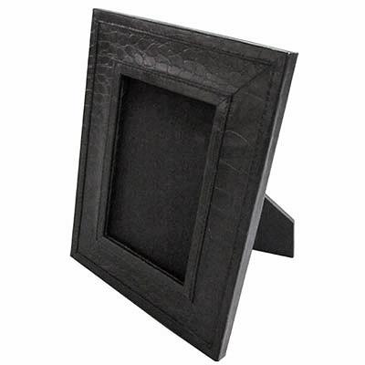 Edler Croco Bilderrahmen schwarzes Leder Fotorahmen 12,5x17,5cm