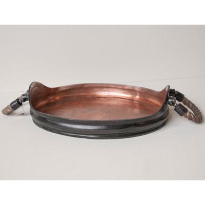 Ablage Oval mit Seilgriff Kupfer
