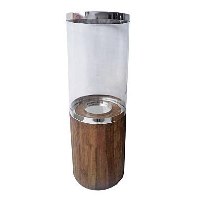 Kerzenhalter Kerzenglas auf Holz Basis Dekoglas D26 H81