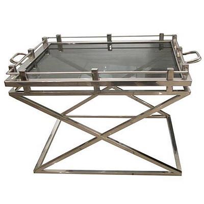 Außergewöhnlicher Beistelltisch mit Glas Glastisch Edelstahl kleiner Tisch 73x60x65cm
