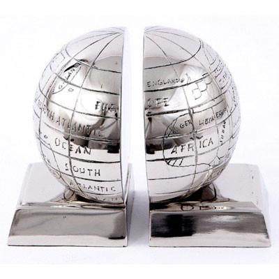 Edelstahl Buchstütze Globus in silber