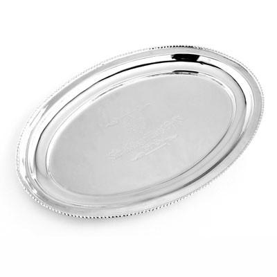 Servierteller Vintage Tablett Oval Serviertablett 28x19cm