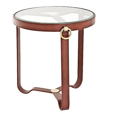 Tisch Stuhlassistent mit Leder Glastisch kleiner Tisch 51x51x56cm