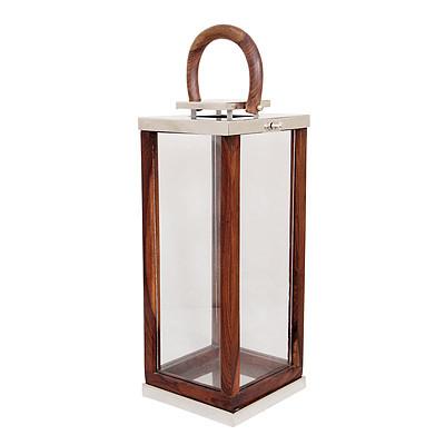 Laterne aus Holz Gartenlaterne Edelstahl Windlicht 24x24x56