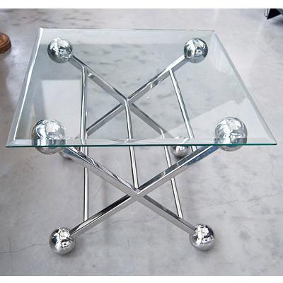 Center Tisch mit Glas 61x61x57 cm