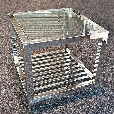 Center Tisch mit Glas 55x55x49 cm