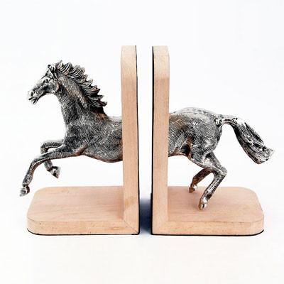 Vintage Buchstütze Pferd Zweier-Set aus Holz im Antik Finish