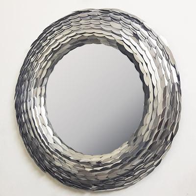 moderner flurspiegel wandspiegel rund aus edelstahl edelstahlspiegel d85 h10 aus nickel glas im. Black Bedroom Furniture Sets. Home Design Ideas