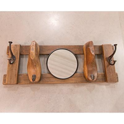 Wandhaken mit Spiegel Garderobenhaken mit vier Haken aus Holz Vintage
