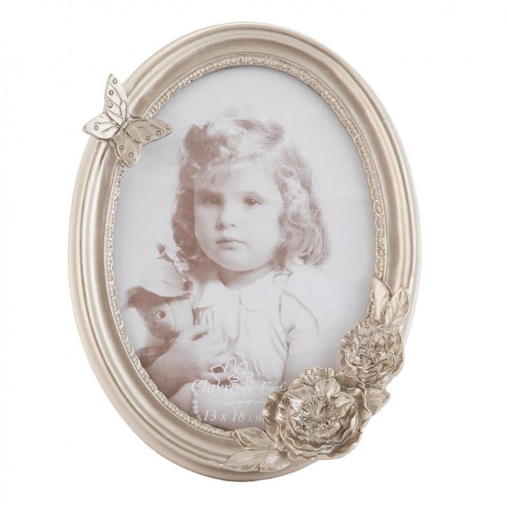 Fotorahmen oval silberfarbig ca. 16 x 3 x 21 cm