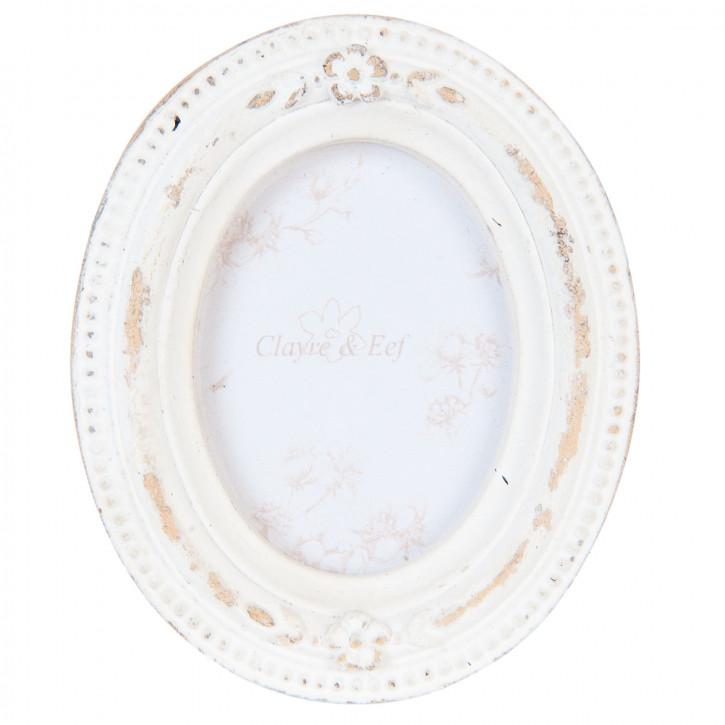 Fotorahmen oval Shabby Weiß 6x7 / cm