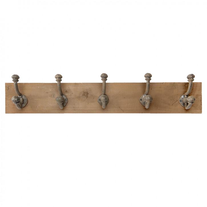 Garderobe Holz mit 5 Haken 65x10x12 cm