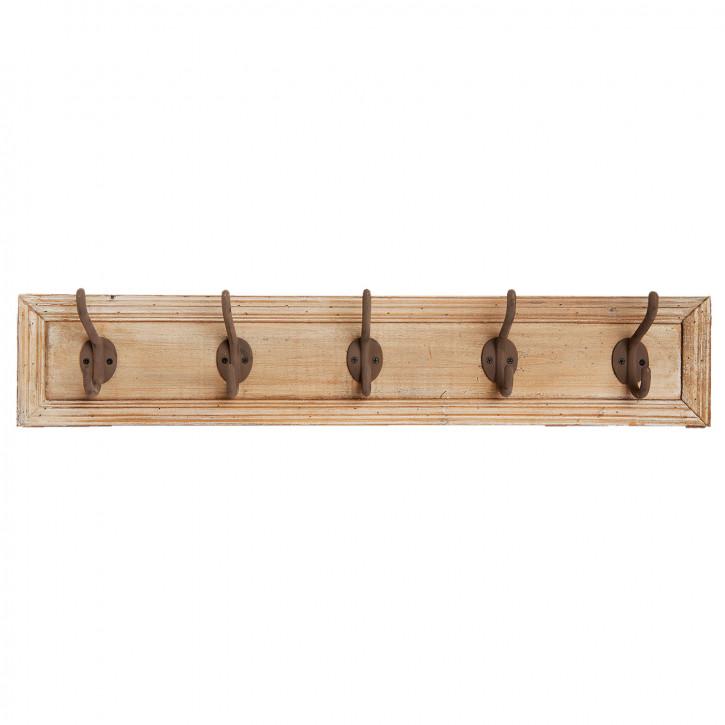 Garderobe Holz mit 5 Haken 78x10x15 cm